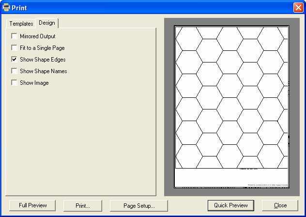 Printing Templates for Hexagons