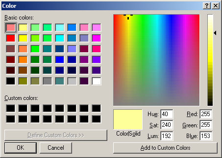 Colors Window in Quilt Assistant